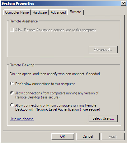 Windows 2008 SP1 dialog box for configuring Remote Desktop