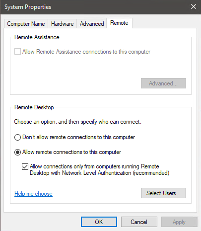 Windows 2019 dialog box for configuring Remote Desktop